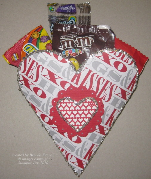 """This pouch is made with the Petal Cone die from the Occasions mini and the new """"Love Impressions"""" DSP"""