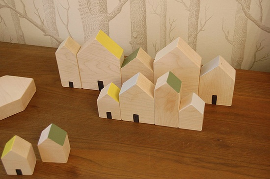 handmade house blocks.  Lena Corwin