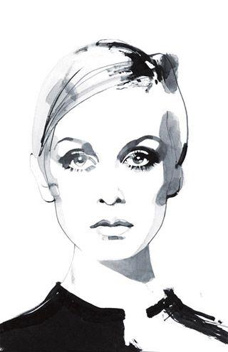 Twiggy by illustrator David Downton