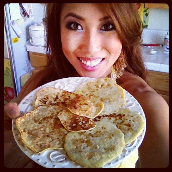 Carb-free pancakes!  Two eggs + 1/2 ripe banana, serve with a little peanut butter, tastes like a crepe!  Yum!