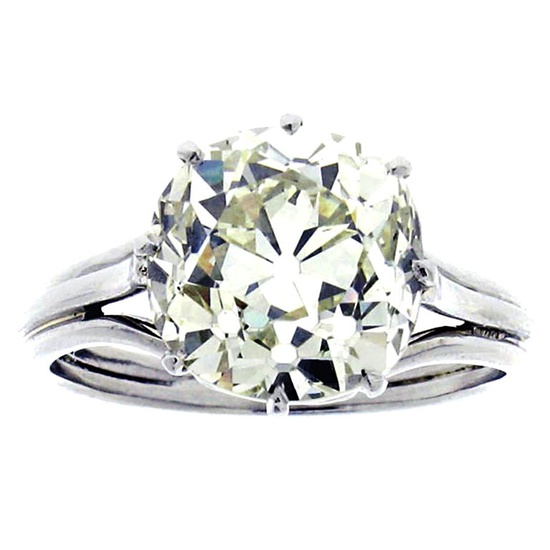Solitaire old mine cut cushion shaped diamond ring  Unknown  Circa 1920