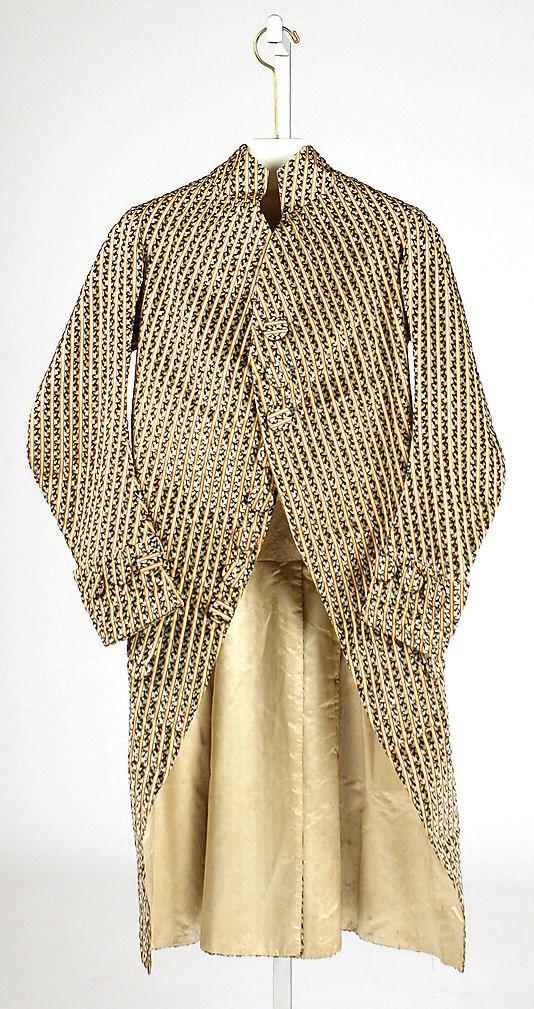 Coat    Date:      ca. 1780  Culture:      French  Medium:      silk  Dimensions:      Length at CB: 43 1/2 in. (110.5 cm)