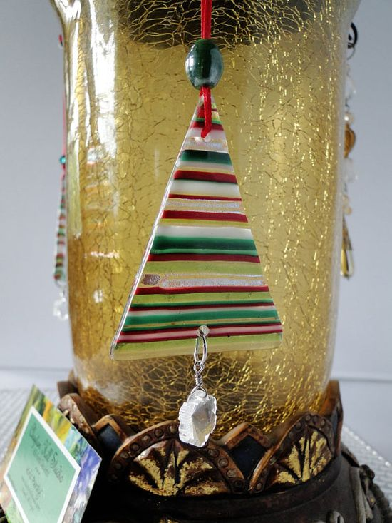 Christmas Ornament  Fused Glass Dichroic Tree by chneos on Etsy, $8.00