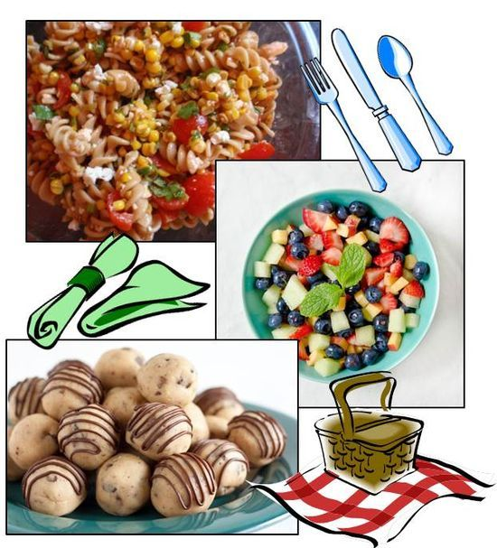 Three possible dishes to prepare for a picnic program: Greek pasta salad, fruit salad, cookie dough