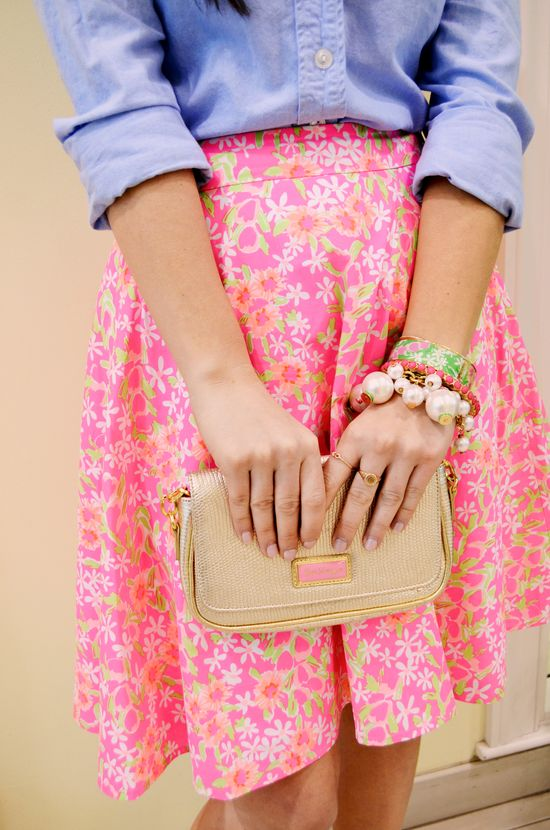 Seen at the Pink Palace: Lilly Pulitzer Spring '13- Meadow Skirt in Fiesta Pink Everything Nice
