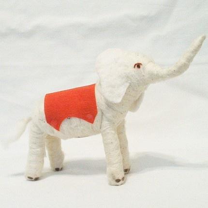 vintage style spun cotton elephant