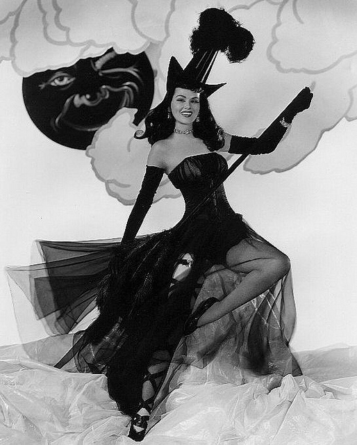 Actress Dusty Anderson as a beguilingly lovely pinup Halloween witch. #vintage #woman #Halloween #pinup #witch #Hollywood
