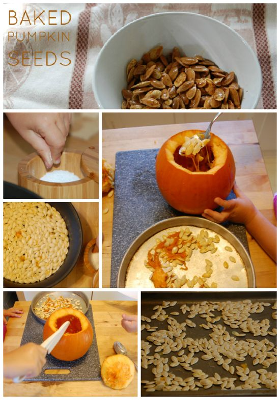 This is a fun activity to do with kids. And   baked pumpkin seeds make the house smell like Fall. Mmm.
