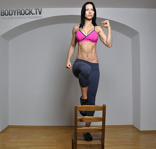 Do this workout!! Killer and all you need is a chair. Working my way up to 100 each leg!