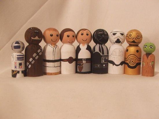 wooden peg dolls. Star Wars peg peeps