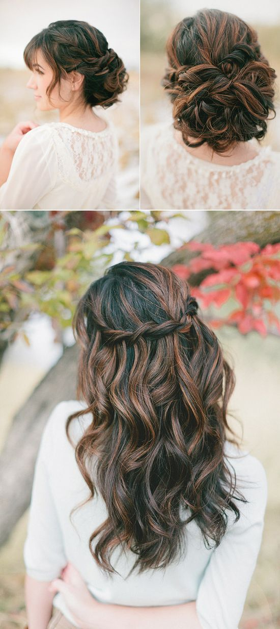 Updo for ceremony, down for reception.