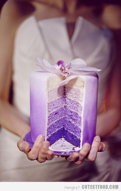 Purple ombre cake. @Adria Riley (for my blanket pattern)