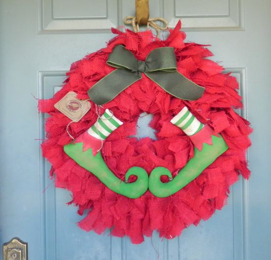 Burlap Christmas Wreath with Elf Shoes- GREEN BOW - holiday wreath christmas wreath, elf wreath via Etsy