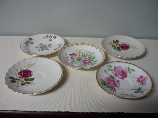 Vintage Decorative Bone China Saucer Plates, Collectable China, Shabby Chic, Bridal Shower, Vintage Wedding. $22.00, via Etsy.