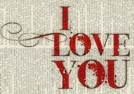 I Love You. Text painted over book pages.