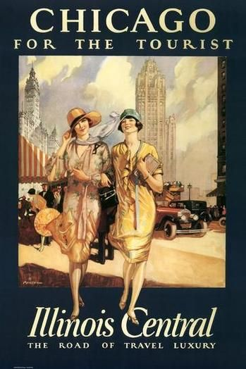 #Chicago for the tourist. #vintage #travel #poster #USA  #Travel Posters multicityworldtra... We cover the world over 220 countries, 26 languages and 120 currencies Hotel and Flight deals.guarantee the best price