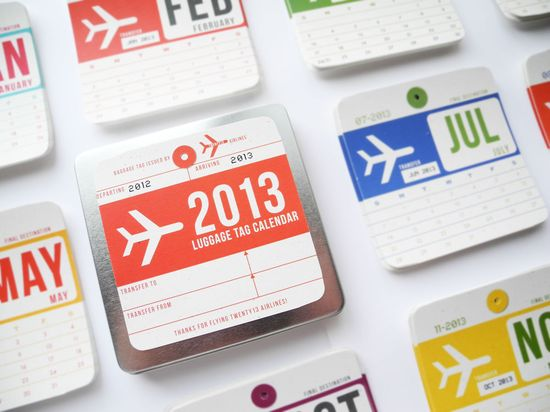 2013 Calendar (inspired by vintage airline luggage tags) - Perfect Holiday Gift. $30.00, via Etsy.