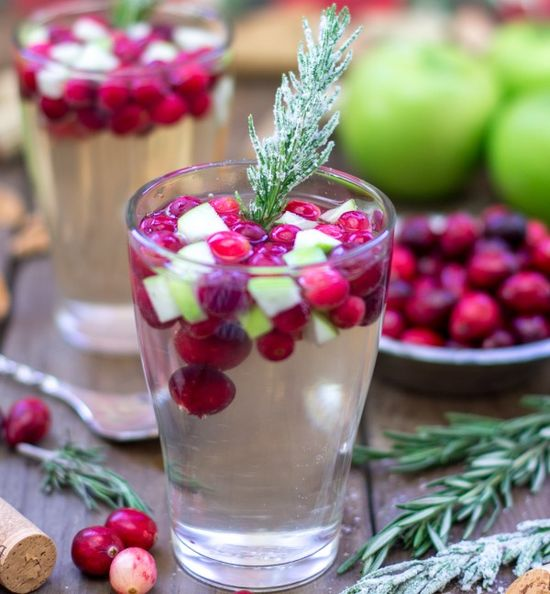 Cranberry & Rosemary White Sangria - Vegetarian and Vegan Recipes - Cooking Stoned