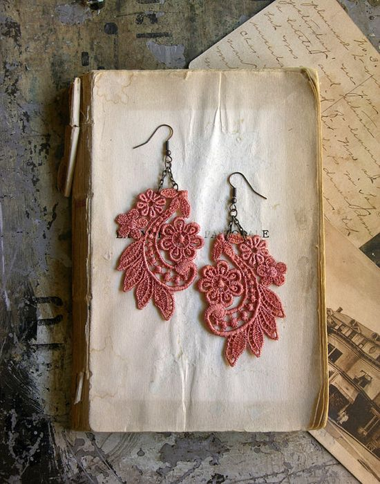 Ady lace earrings by White Owl #fashion #accessory #lace #coral #etsy #earrings