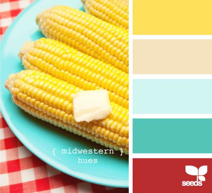 color palette | midwestern hues | this yellow for walls and this pinky-red for the front door?