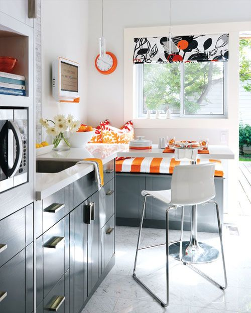 kitchen! love the pop of orange.. great for orange pop in connected great room :)