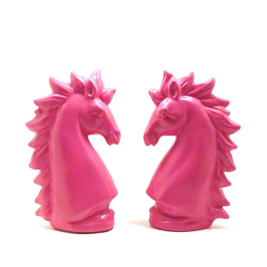 pink unicorns, #unicorn, ceramic figurines  //  pink decor, #mythical creature statue, horse, bright, #upcycled home decor, funky. $28.00, via Etsy.