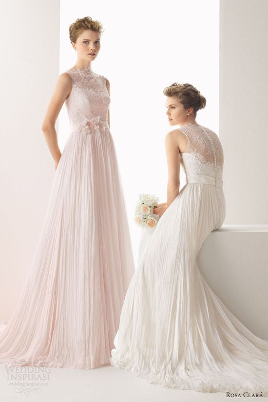 soft by rosa clara color wedding dresses 2014 usual sleeveless lace draped pink gown