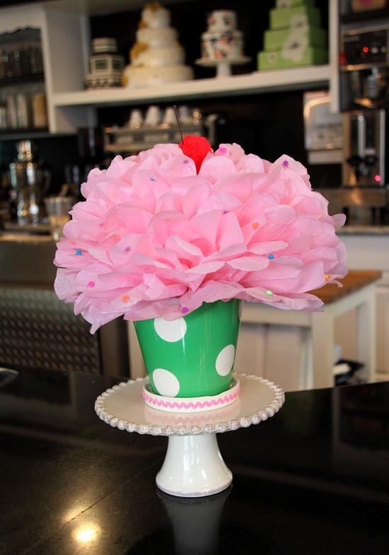 Cupcake centerpiece.