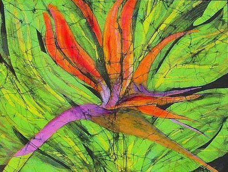 Bird of Paradise III     Kay Shaffer.     Batik