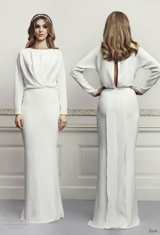 zien wedding dresses 2013 long sleeve gown keyhole back