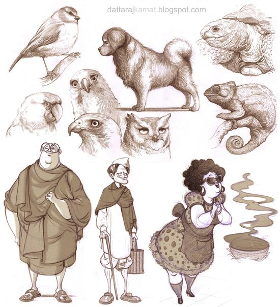 DATTARAJ KAMAT Animation art: Some character designs n Studies...