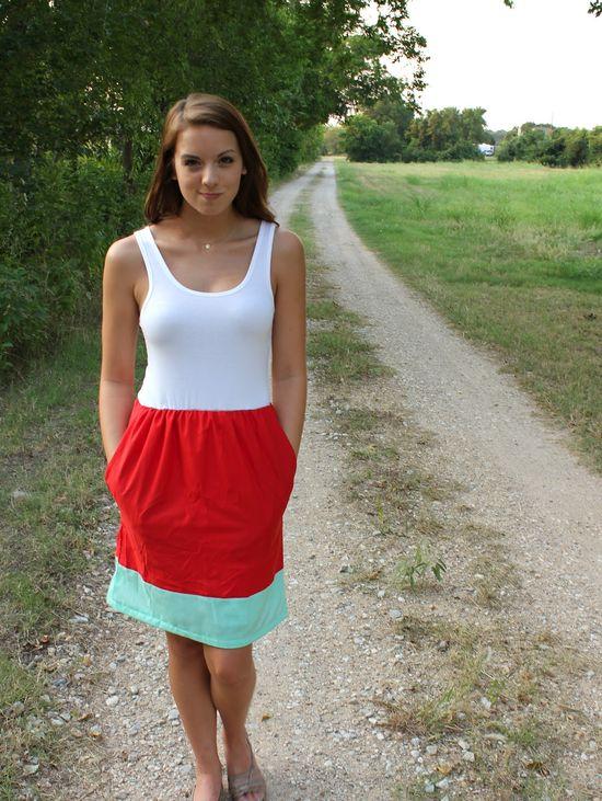 DIY: color block tank dress