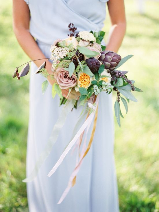 romantic architoke wedding bouquet  www.weddingchicks...