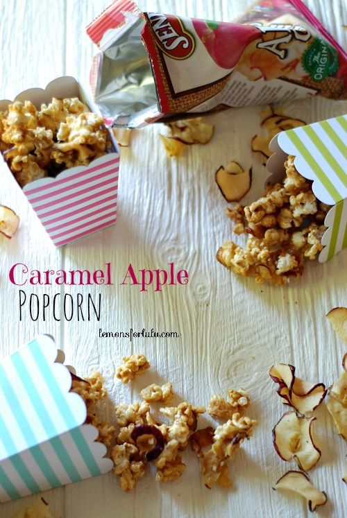 Salty sweet caramel corn mixed with apple chips!  www.lemonsforlulu...