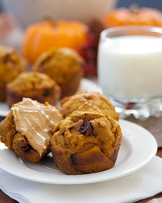 whole wheat chocolate chip pumpkin muffins !