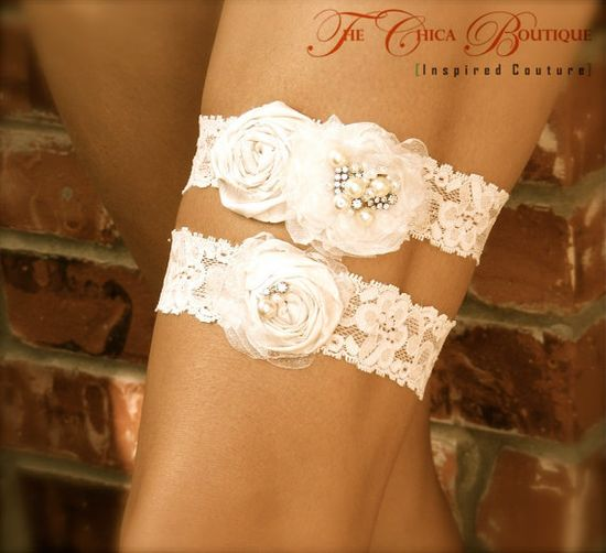 Bridal Garter Set Chica Luxe Series by TheChicaBoutique on Etsy, $65.00