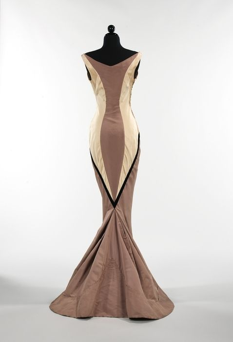 Charles James evening gown, c.1957; shades of taupe and mocha with black accent - GORGEOUS!