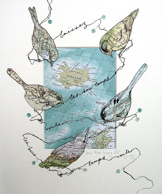 art journal page inspiration bird shapes, map,travel, line work and more. Lovely indeed!