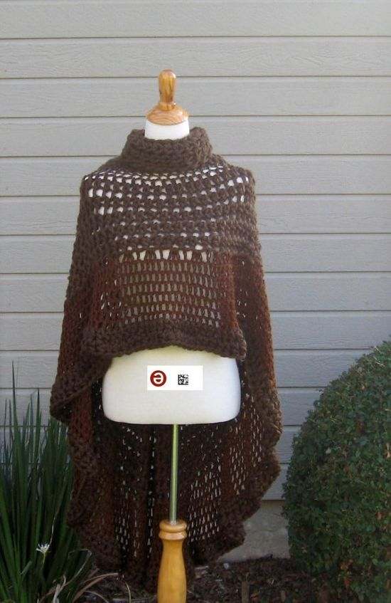 FASHION CROCHET PONCHO Capelet Brown Free Shipping by marianavail, $95.00