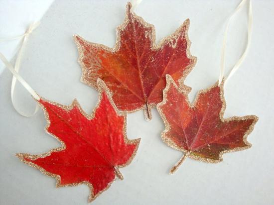 Real fall leaf ornaments