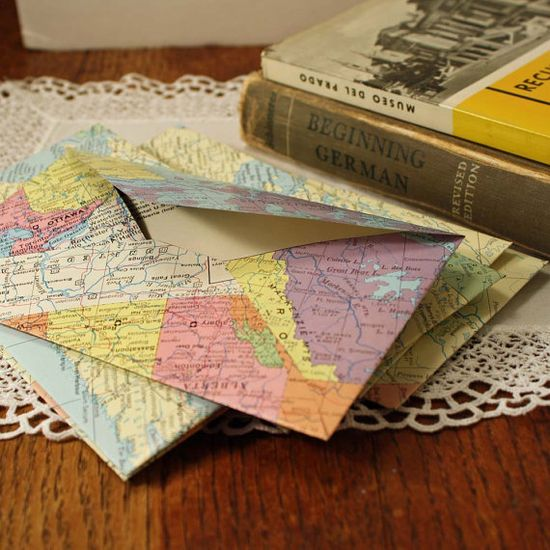 Handmade Envelopes made from Old World Maps by CottonRidgeEmporium