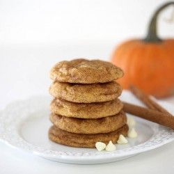 pumpkin snickerdoodle cookies with white chocolate chips.