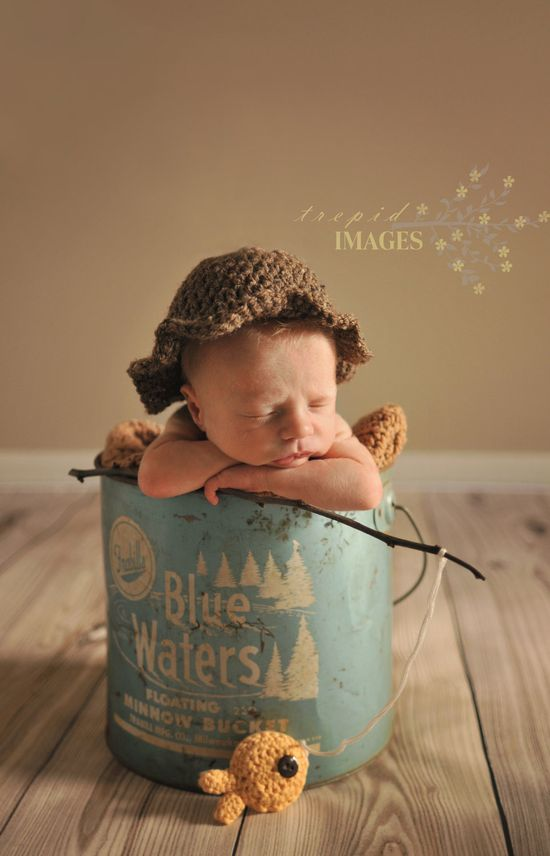 Crochet Fishermen Hat and Goldfish for Newborn Boy Photography Prop.