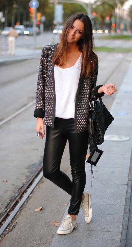 jacket + leather pants.