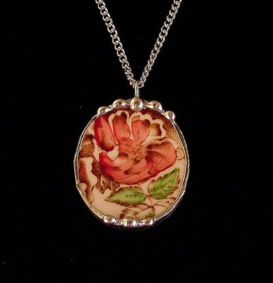 Broken china jewelry oval pendant necklace antique English transferware rose