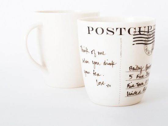 Post Cup. You can customize the message on this mug