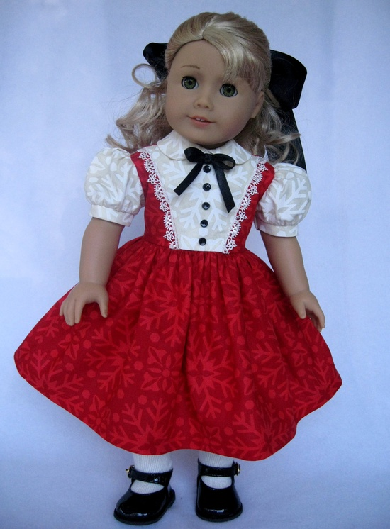 American Girl Doll Clothes Red and Cream Christmas Dress