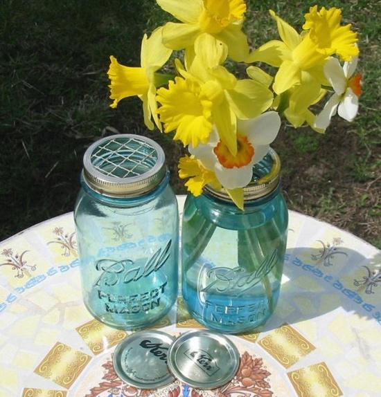 Mason Jars flower vases.