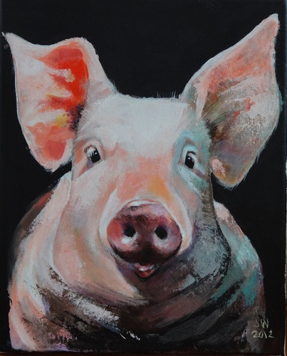 1 of 3 Dutch pigs painted by the wonderful Siegfried Woldhek. Enjoy its curiosity!   (Do not consider factory farming in Holland, or anywhere this instant. Stop it. Really, I spoil everything.)