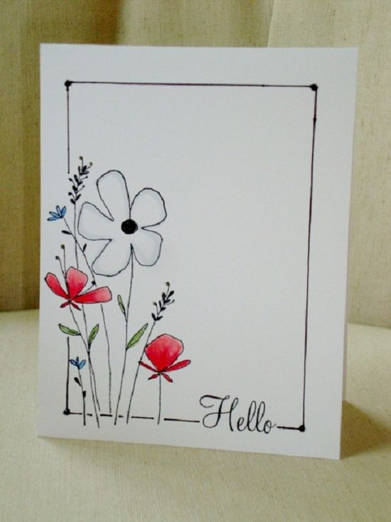 Hand Drawn Flowers #scrapbook #card #layout #frame #simple #hello #spring